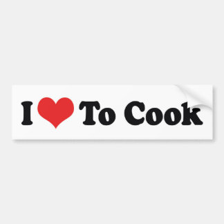 I Love Heart To Cook - Chef Baker Cooking Lover Bumper Sticker