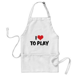 I Love Heart To Play - Sports Basketball Football Adult Apron