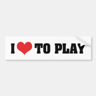 I Love Heart To Play - Sports Basketball Football Bumper Sticker