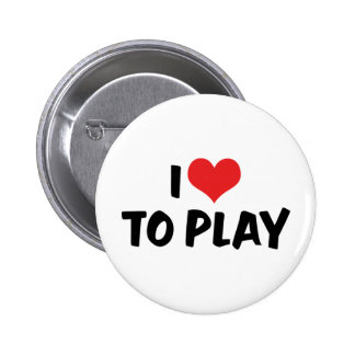 I Love Heart To Play - Sports Basketball Football Button