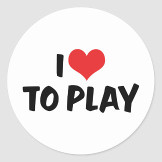 I Love Heart To Play - Sports Basketball Football Classic Round Sticker