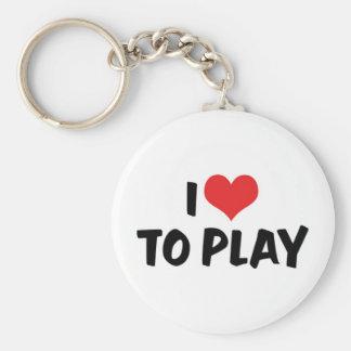 I Love Heart To Play - Sports Basketball Football Keychain