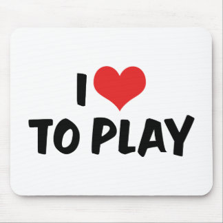 I Love Heart To Play - Sports Basketball Football Mouse Pad