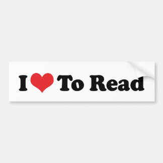 I Love Heart To Read - Book Lover Bumper Sticker