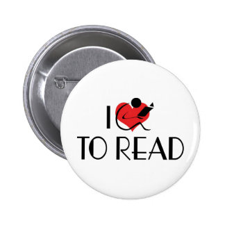 I Love Heart To Read - Book Lover Button