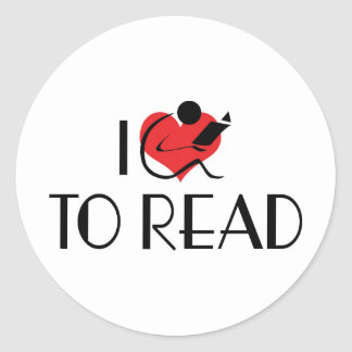 I Love Heart To Read - Book Lover Classic Round Sticker