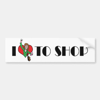 I Love Heart To Shop - Shopping Mall Lover Bumper Sticker