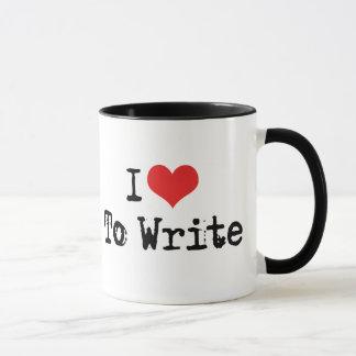 I Love Heart To Write Mug