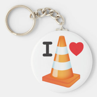 I Love Heart Traffic Cones Road Markers Roadworks Keychain