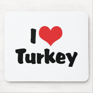 I Love Heart Turkey - Thanksgiving Meal Lover Mouse Pad