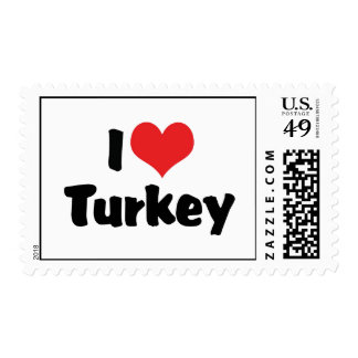 I Love Heart Turkey - Thanksgiving Meal Lover Postage
