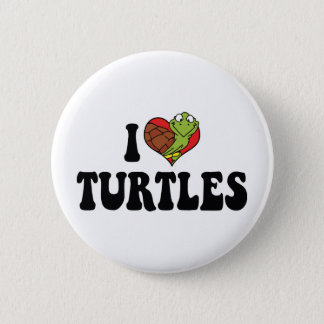 I Love Heart Turtles Button