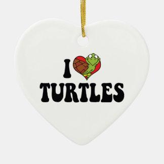 I Love Heart Turtles Ceramic Ornament