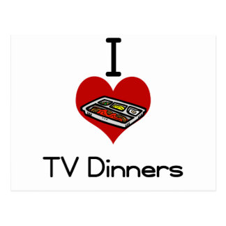 I love-heart tv dinner postcard
