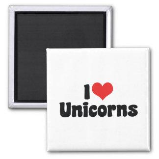 I Love Heart Unicorns 2 Inch Square Magnet