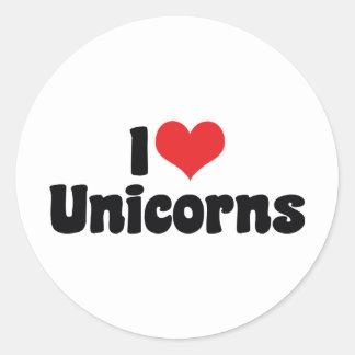 I Love Heart Unicorns Classic Round Sticker