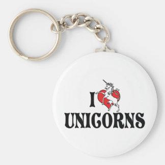 I Love Heart Unicorns Keychain