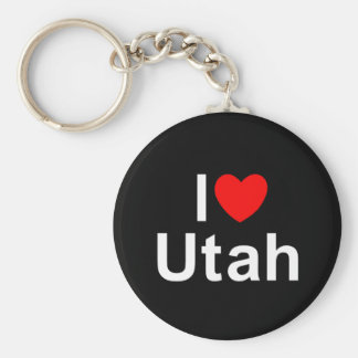 I Love (Heart) Utah Basic Round Button Keychain