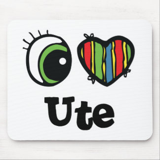 I Love (Heart) Ute Mouse Pad