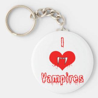 I Love (heart) Vampires Basic Round Button Keychain