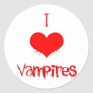 I Love (heart) Vampires Classic Round Sticker