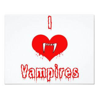 I Love (heart) Vampires 4.25x5.5 Paper Invitation Card