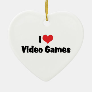 I Love Heart Video Games - Video Game Lover Ceramic Ornament