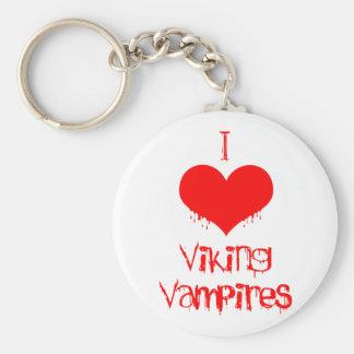 I love (heart) Viking vampires Basic Round Button Keychain