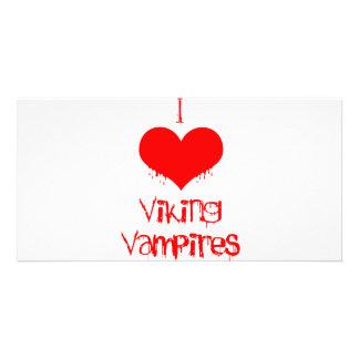I love heart Viking vampires Custom Photo Card