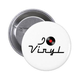 I Love Heart Vinyl - DJ Record Album Lover Button