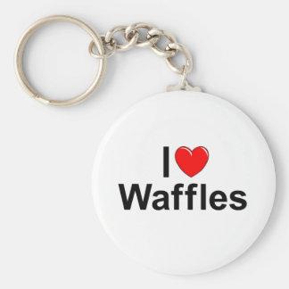 I Love (Heart) Waffles Basic Round Button Keychain