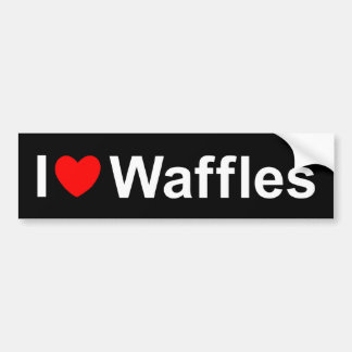 I Love (Heart) Waffles Car Bumper Sticker