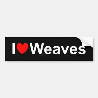 I Love (Heart) Weaves Car Bumper Sticker