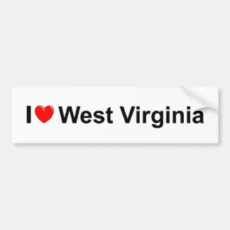 I Love (Heart) West Virginia Car Bumper Sticker