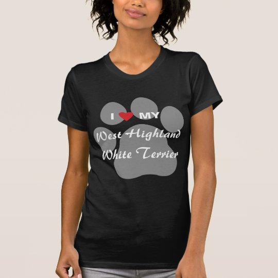 I Love (Heart) Westie Pawprint T-Shirt