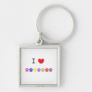 I love heart westies dog keychain, gift idea Silver-Colored square keychain