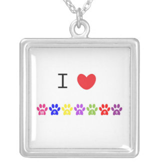 I love heart westies dog pawprint necklace, gift square pendant necklace