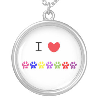 I love heart westies dog pawprint necklace, gift round pendant necklace