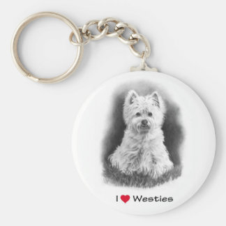 I Love (Heart) Westies: Pencil Drawing Keychain