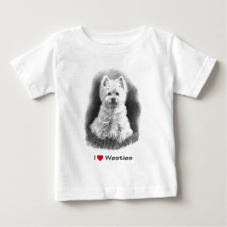 I Love (Heart) Westies: Pencil Drawing, Realism Baby T-Shirt