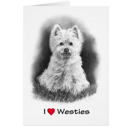 I Love (Heart) Westies: Pencil Drawing, Realism Greeting Card