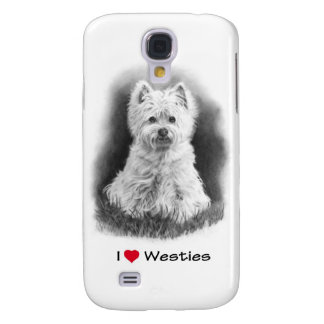 I Love (Heart) Westies: Pencil Drawing, Realism Samsung Galaxy S4 Cover
