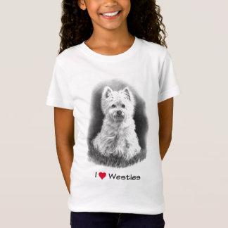 I Love (Heart) Westies: Pencil Drawing, Realism T-Shirt