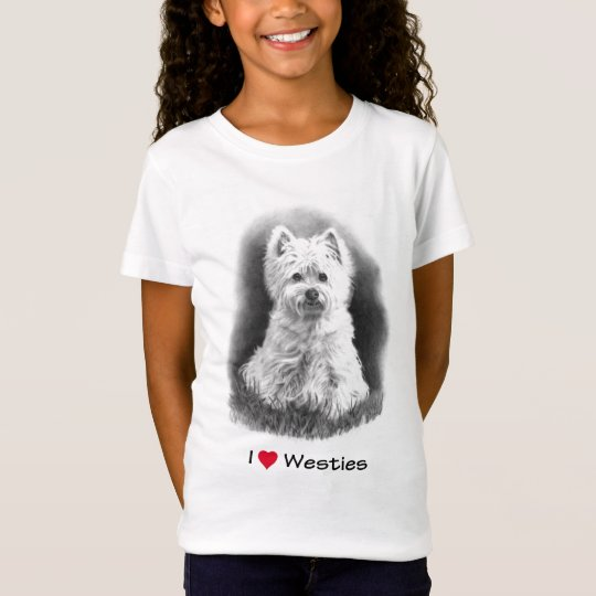 I Love (Heart) Westies: Pencil Drawing, Realism T-Shirt