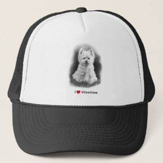 I Love (Heart) Westies: Pencil Drawing, Realism Trucker Hat