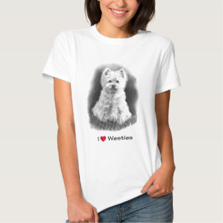 I Love (Heart) Westies: Pencil Drawing T Shirt