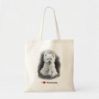 I Love (Heart) Westies: Pencil Drawing Tote Bag