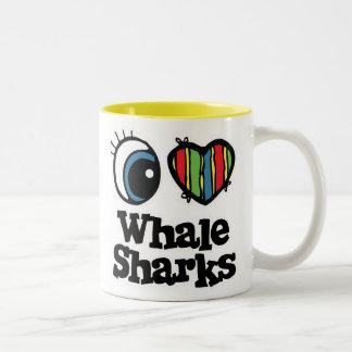 I Love (Heart) Whale Sharks Two-Tone Coffee Mug