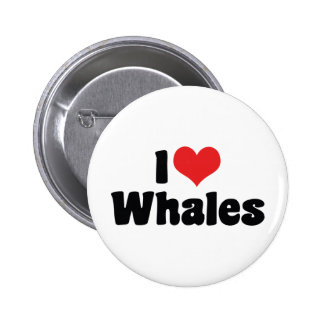 I Love Heart Whales Button