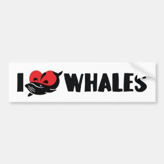 I Love Heart Whales - Whale Lover Bumper Sticker